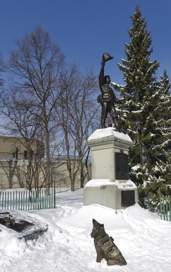 Dead Soldier Statue with Medical Dog Statue Ottawa stock image