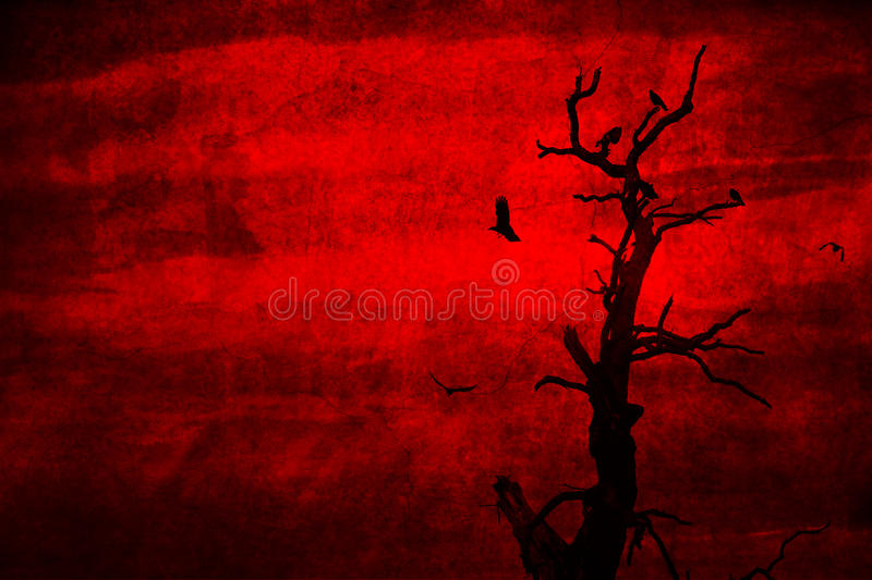 Dead tree with crows perched and flying. A spooky dead tree with crows perched and flying nearby on a red grunge background royalty free stock image
