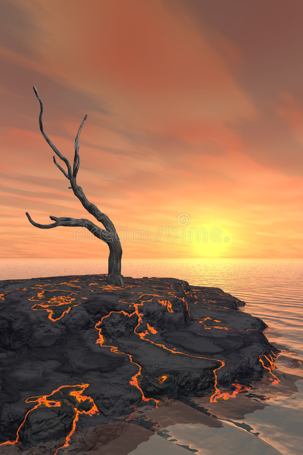 Dead Tree on Lava Flow. Island with surreal sunset royalty free illustration