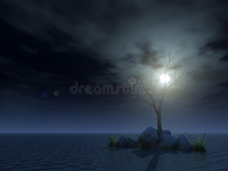 Dead tree at night vector illustration