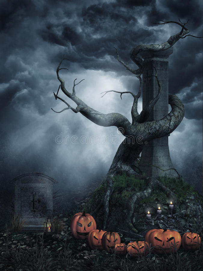 Dead tree with pumpkins royalty free stock photos
