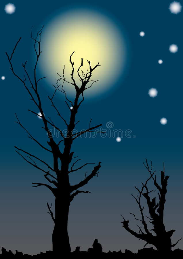 Download Dead Trees On Full Moon. Royalty Free Stock Photography - Image: 3168457