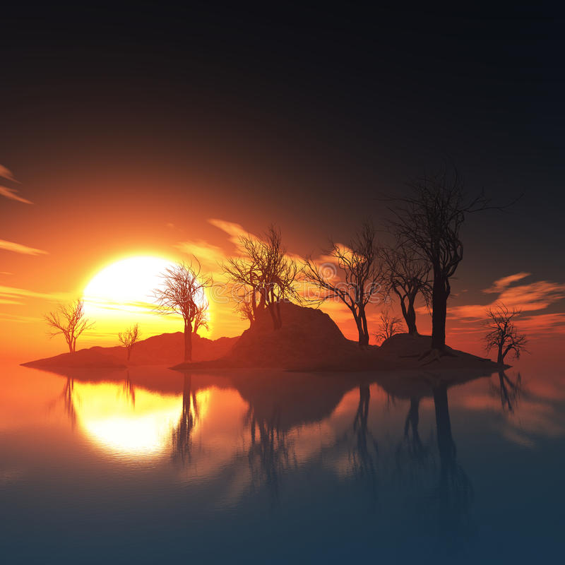Download Dead Trees Island And Sunset Stock Image - Image: 34959231