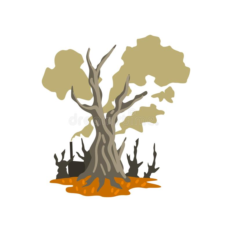 Dead trees and toxic waste dump, ecological disaster, environmental pollution concept, vector Illustration on a white. Dead trees and toxic waste dump royalty free illustration