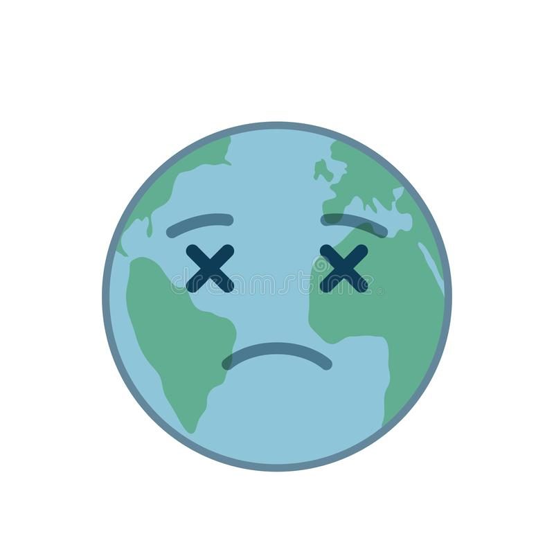 Dead world globe isolated emoticon vector illustration