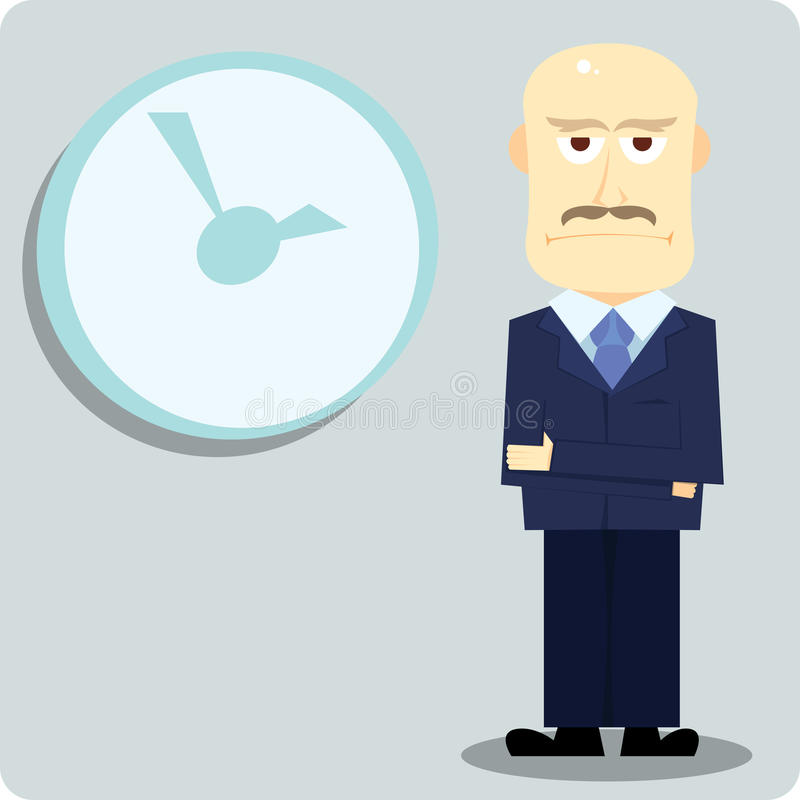 Deadline. Bald boss waiting you to finish the project stock illustration