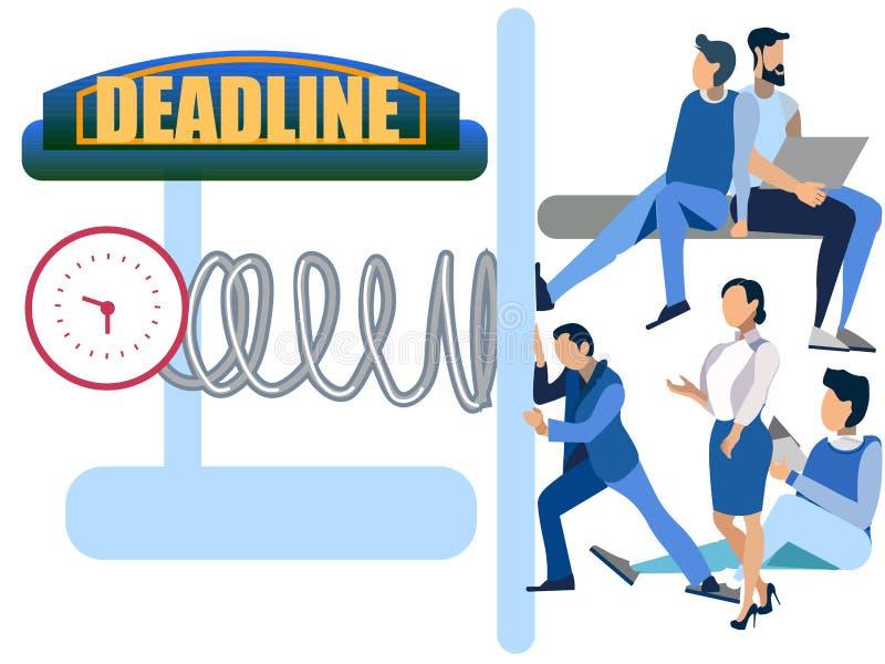 Deadline abstract concept, businessmen clockwork presses, crushes people. In minimalist style. Cartoon flat Vector vector illustration