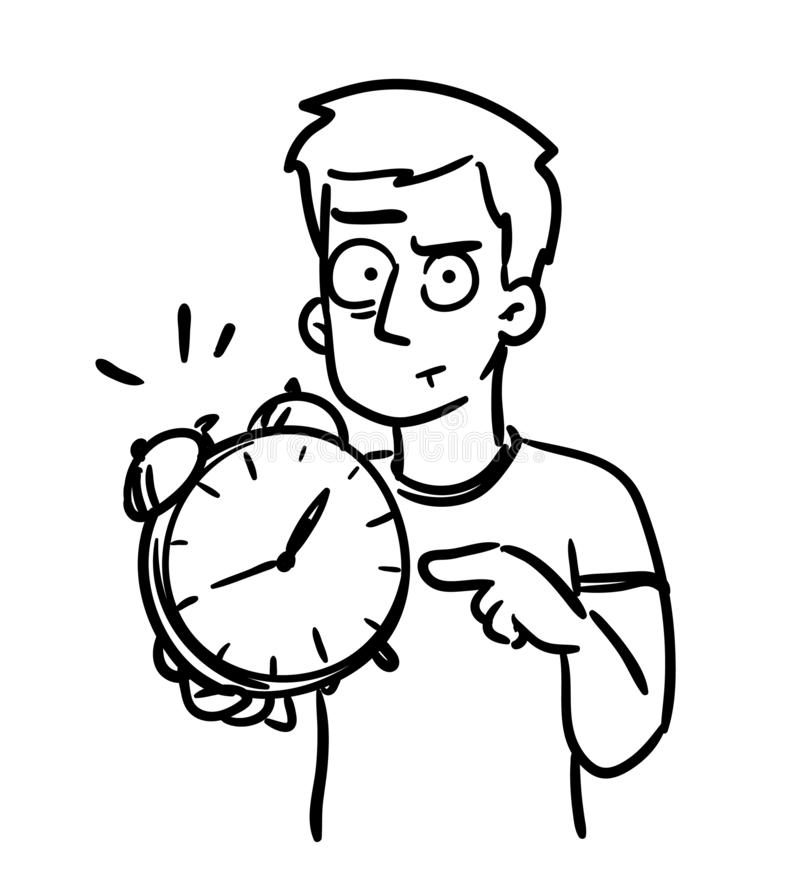 Deadline cartoon. Alarm clock doodle. Man pointing at clock showing that time is up. Funny simple vector, black and royalty free illustration