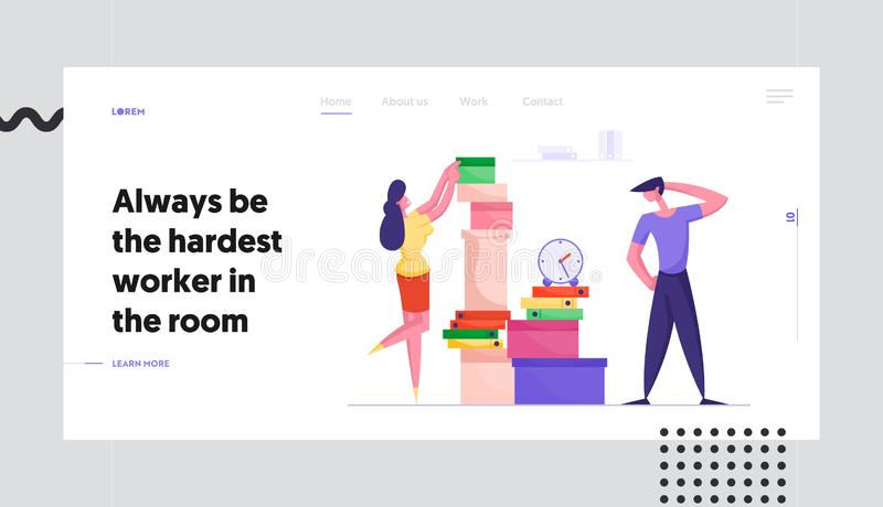 Deadline, Company Boss Hurry Worker with Job Website Landing Page. Businesswoman Put Documents in Huge Heap. For Employee Finish Work with Documentation Web vector illustration