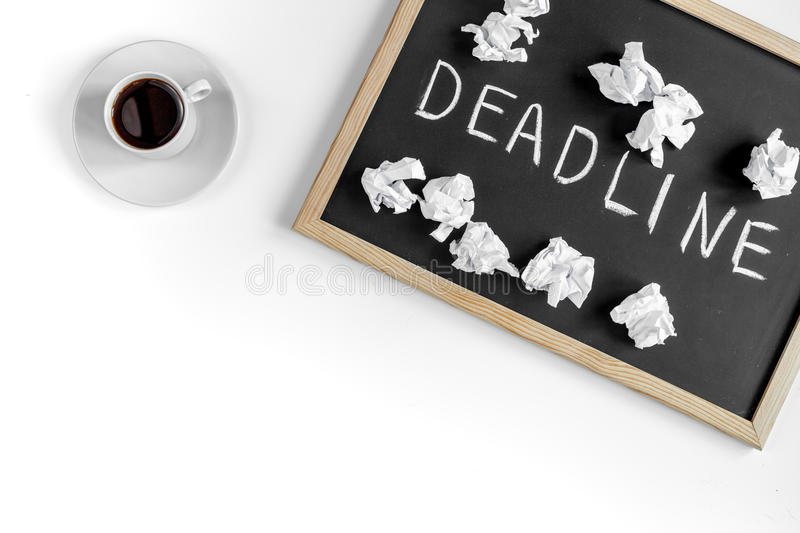 Deadline concept on board at white background top view. Deadline concept on board on white background top view royalty free stock photography