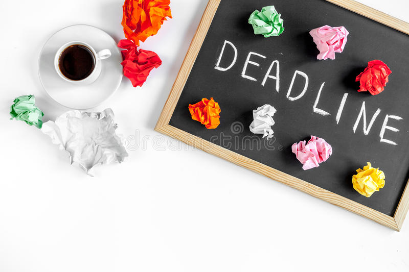 Deadline concept on board at white background top view. Deadline concept on board on white background top view stock photo