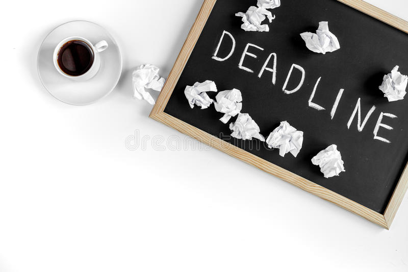 Deadline concept on board at white background top view. Deadline concept on board on white background top view royalty free stock images