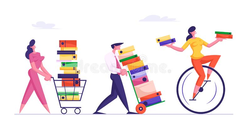 Deadline Concept with Business People Carry Huge Piles of Documents Following Woman Riding Monowheel royalty free illustration