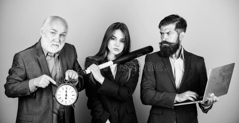 Deadline concept. time management. dirty business and criminal. digital sport. businesspeople. dream team. bearded man royalty free stock photo