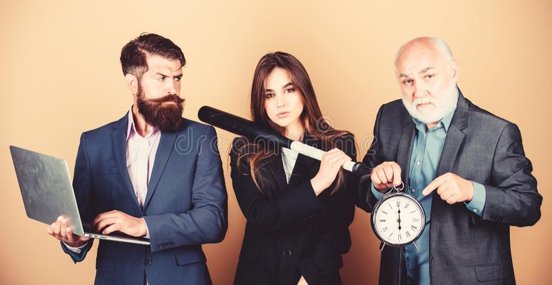 Deadline concept. time management. dirty business and criminal. digital sport. businesspeople. dream team. bearded man stock image