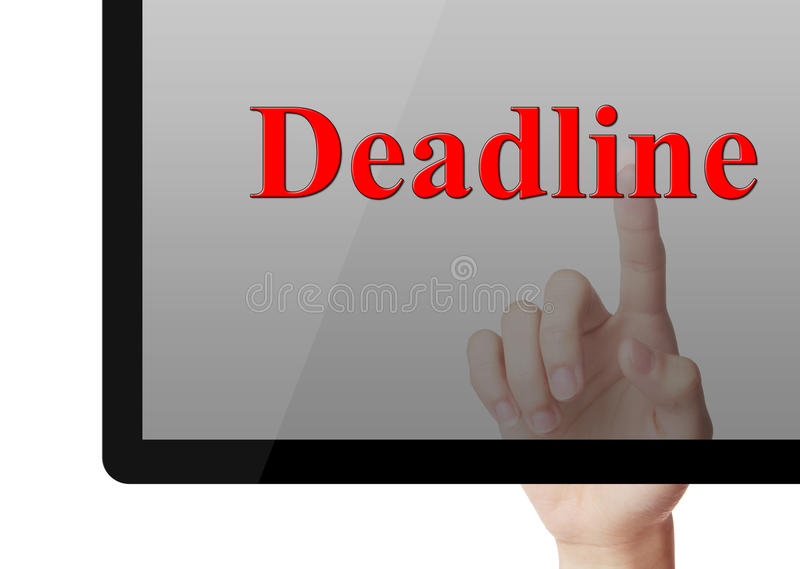 Deadline concept. Touch deadline on screen with index finger stock image