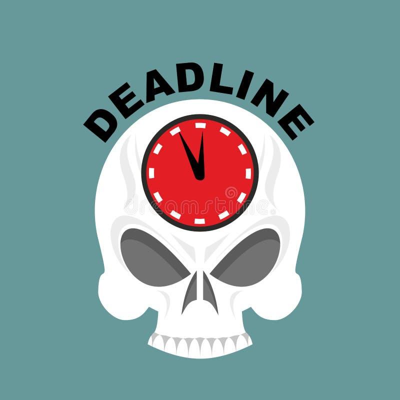 deadline Czaszka z zegarem nie wystarczająco czasu Wektorowy illustrati royalty ilustracja