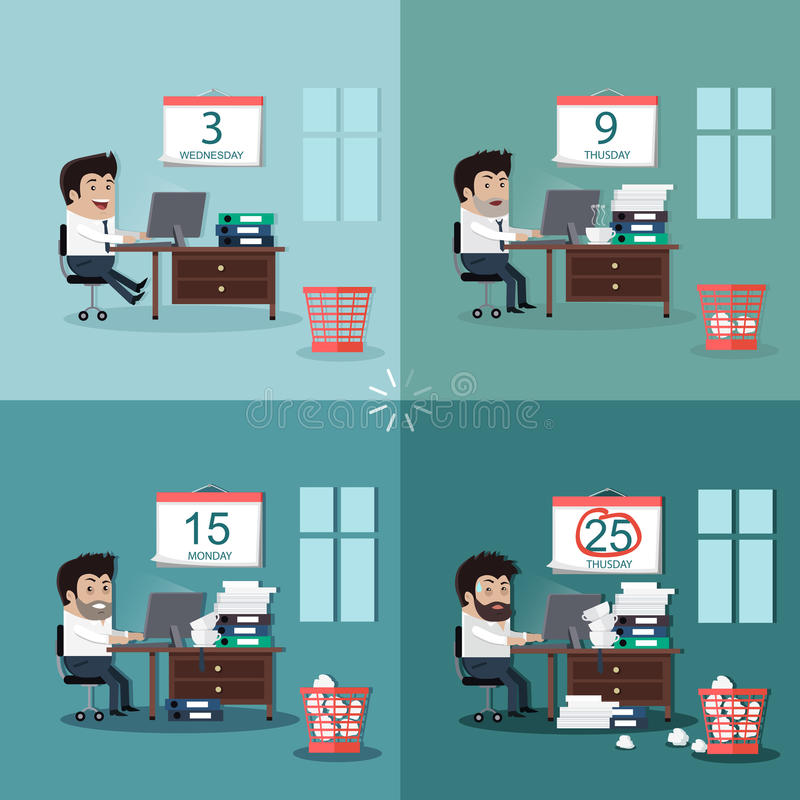 Deadline Design Concept Flat Interior Man stock illustration