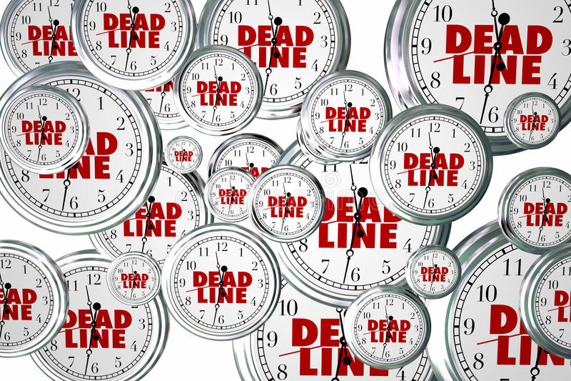 Deadline Due Dates Clocks Flying Urgent Words. 3d Illustration vector illustration
