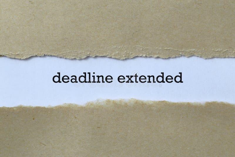Deadline extended on paper. Deadline extended word on paper stock images