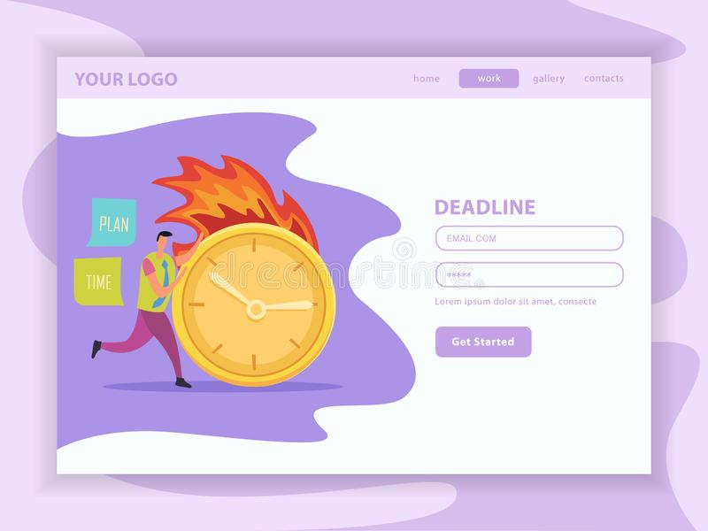 Deadline Flat Landing Web Page vector illustration