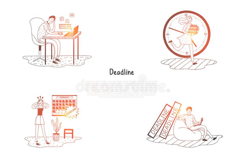 Deadline - frustrated and stressed people thinking about work deadline vector concept set vector illustration
