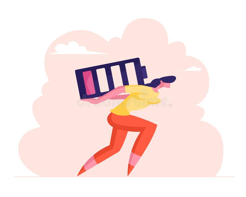 Deadline Overload and Life Energy Concept. Haggard Businesswoman Carry Huge Battery with Low Red Charging Level on Back royalty free illustration