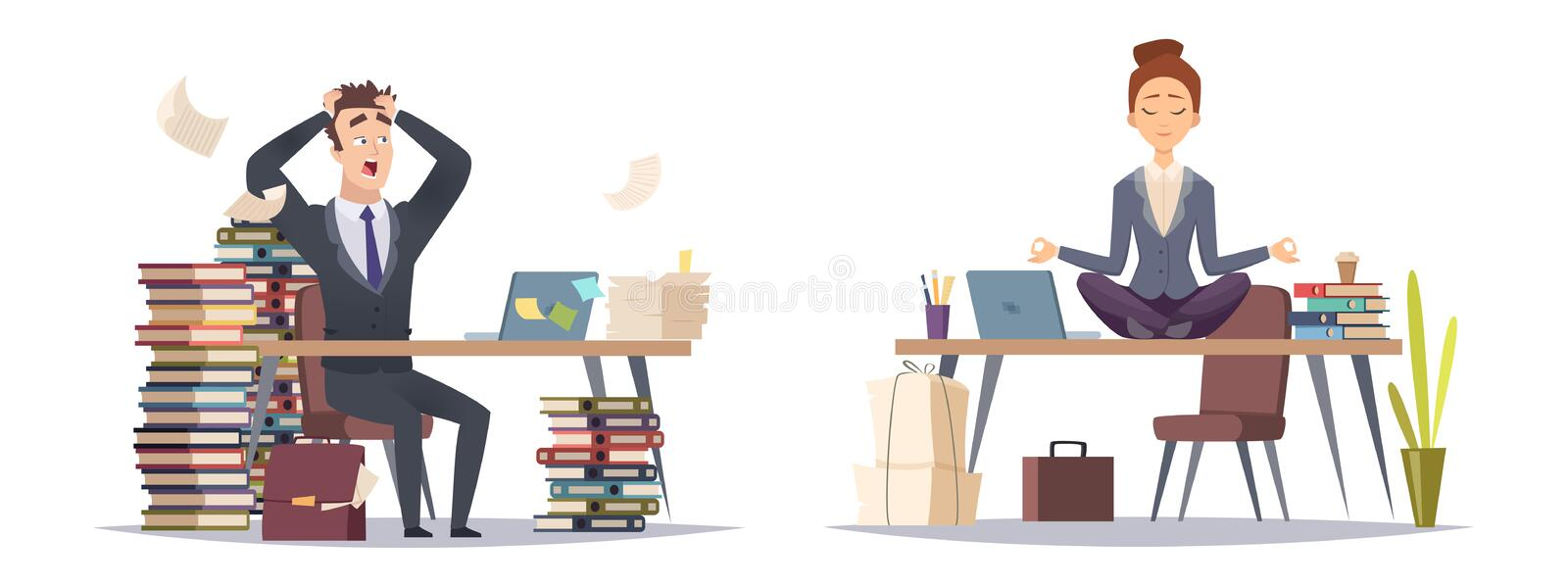 Deadline panicked businessman and organized business woman. Two type of businesspeople vector concept royalty free illustration