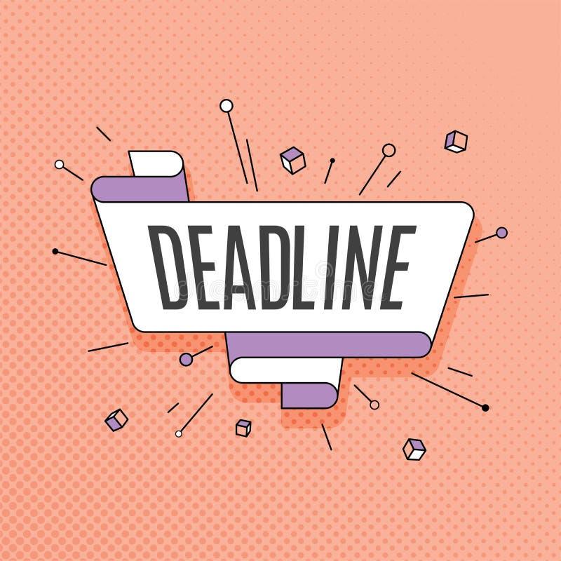 deadline Retro projekta element w wystrzał sztuki stylu na halftone kolorze ilustracji