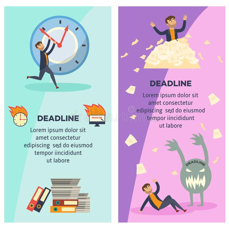 Deadline and time management banners set with overworked and littered with paper documents businessman. vector illustration