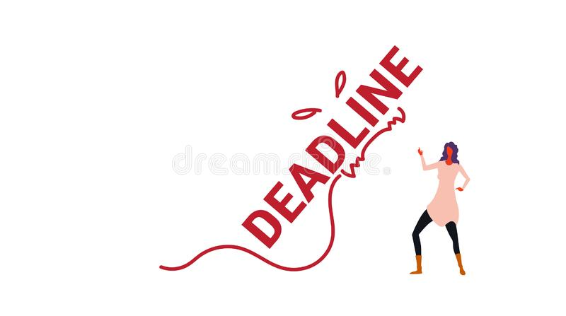 Deadline word monster falling on exhausted businesswoman stress problem time management concept overworked business stock illustration