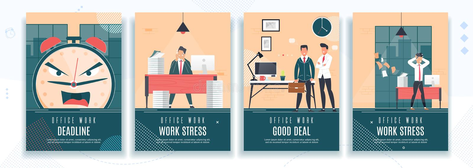 Deadline, Work Stress, Good Deal Flat Banner Set. Effective Time Management for Efficient Successful and Profitable Business. Vector Office Characters stock illustration