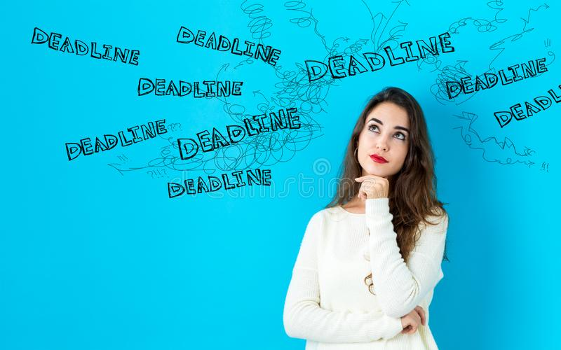 Deadline with young woman royalty free stock photos