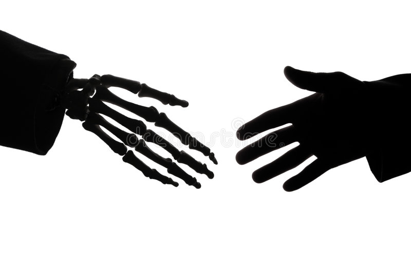 Deadly handshake stock images