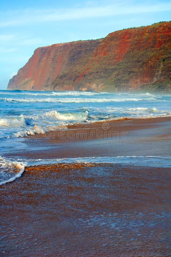 Deadly Rip Currents and Strong Undertow. Unprotected, Polihale Beach is known for its powerful rip currents. Beach is on the Island of Kauai, Hawaii stock photos