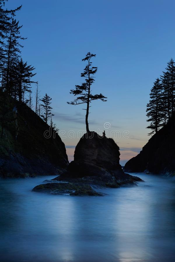 Deadman`s Cove at Cape Disappointment at Twilight. Deadman`s Cove in Cape Disappointment State Park at Oregon Coast during blue hour evening twilight hour royalty free stock images