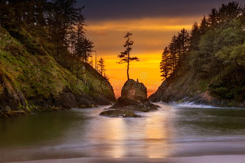 Deadmans Cove at Cape Disappointment State Park sunset. Deadman`s Cove in Cape Disappointment State Park at Oregon Coast during Sunset royalty free stock image