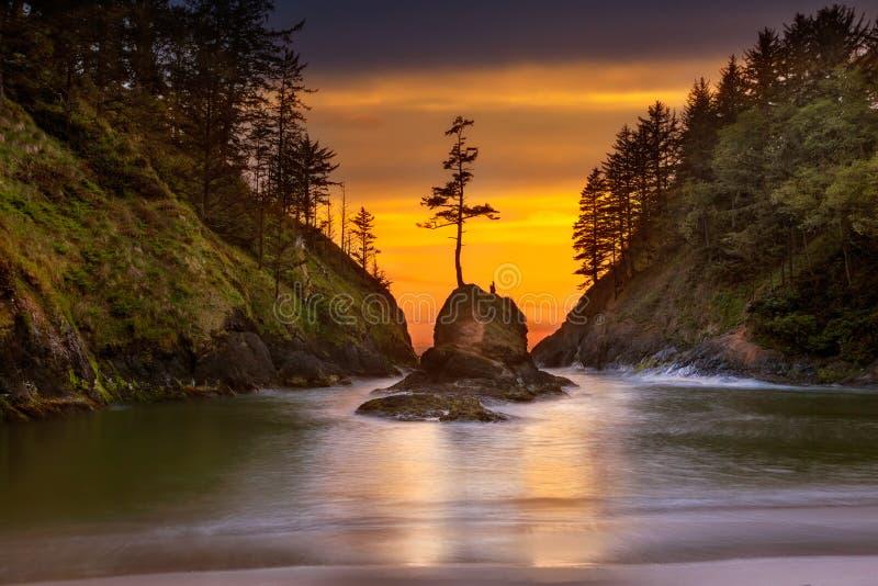 Deadmans liten vik på solnedgången för uddebesvikelsedelstatspark royaltyfri bild