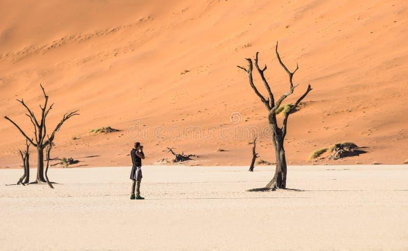 Deadvlei火山口的孤独的冒险旅行摄影师在Sossusvlei 库存照片
