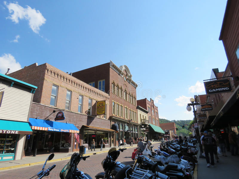 Deadwood South Dakota historic downtown during Sturgis week. During the 77th Annual Sturgis Motorcycle Rally in August 2017, hundreds of thousands of stock image