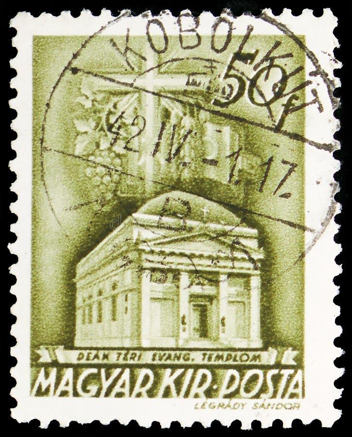Deak Square Evangelical Church, Budapest, igreja no serie de Hungria, cerca de 1942 imagem de stock