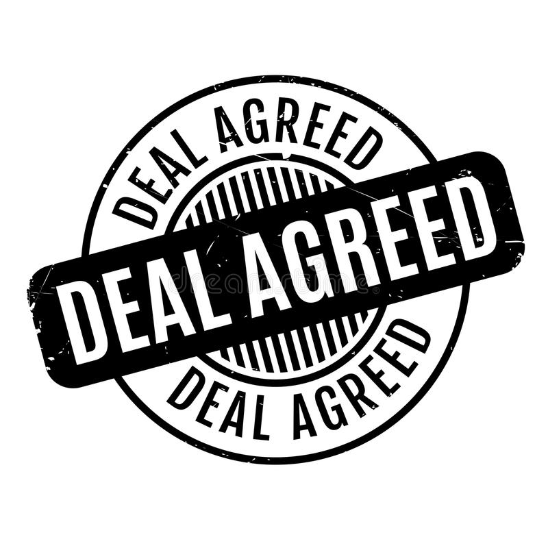 Deal Agreed rubber stamp. Grunge design with dust scratches. Effects can be easily removed for a clean, crisp look. Color is easily changed stock illustration