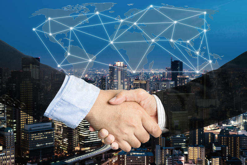 Deal or agreement business concept, handshake double exposure, c royalty free stock image