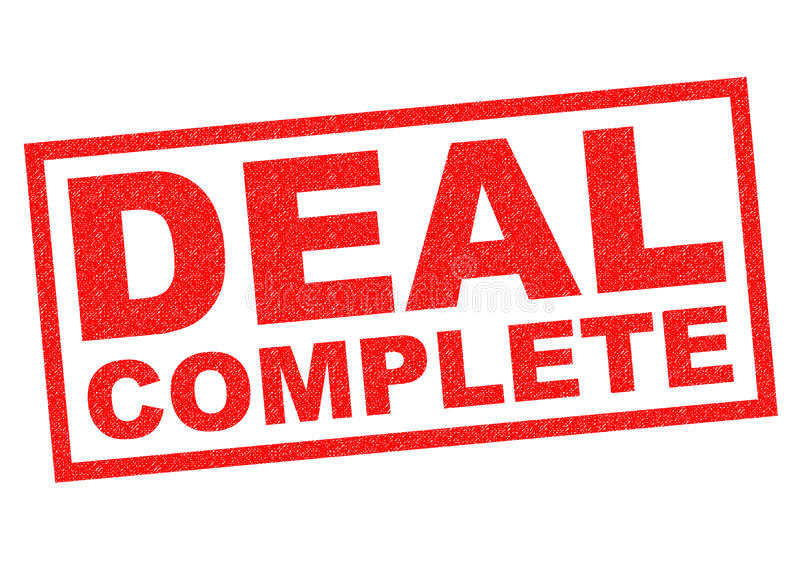 DEAL COMPLETE. Red Rubber Stamp over a white background stock illustration