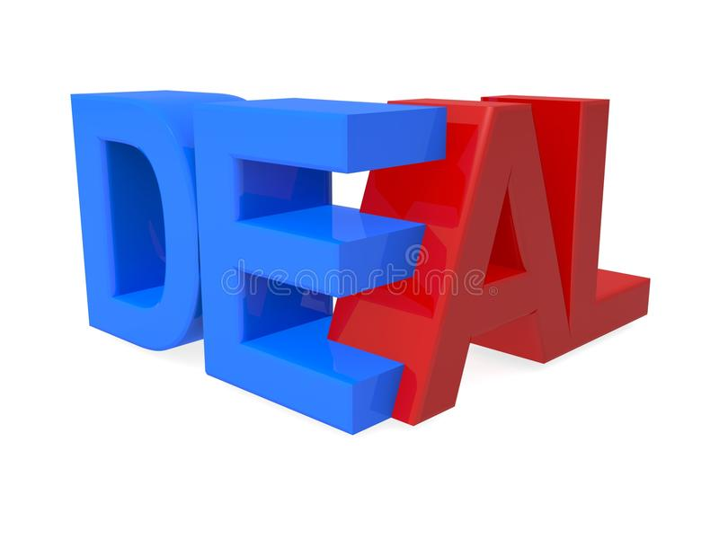 Deal. 3D graphic deal in red and blue text on white background royalty free stock photography