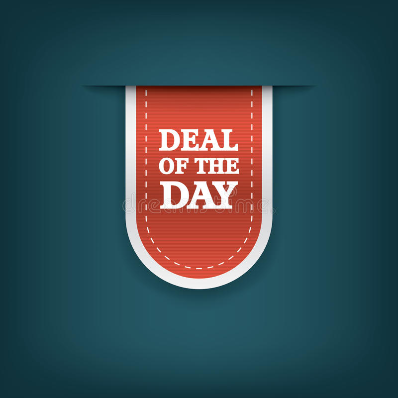 Deal of the day vertical ribbon bookmark tag royalty free illustration