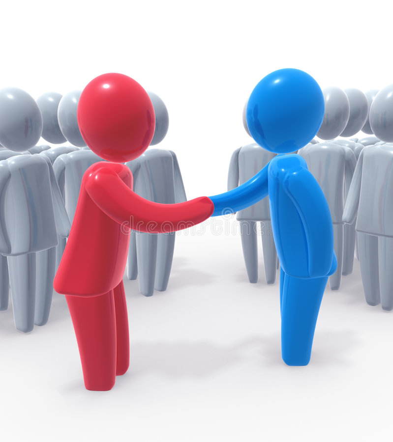 Deal done. Red and blue person shaking hands. Concept of business or political agreement or meeting of two sides vector illustration