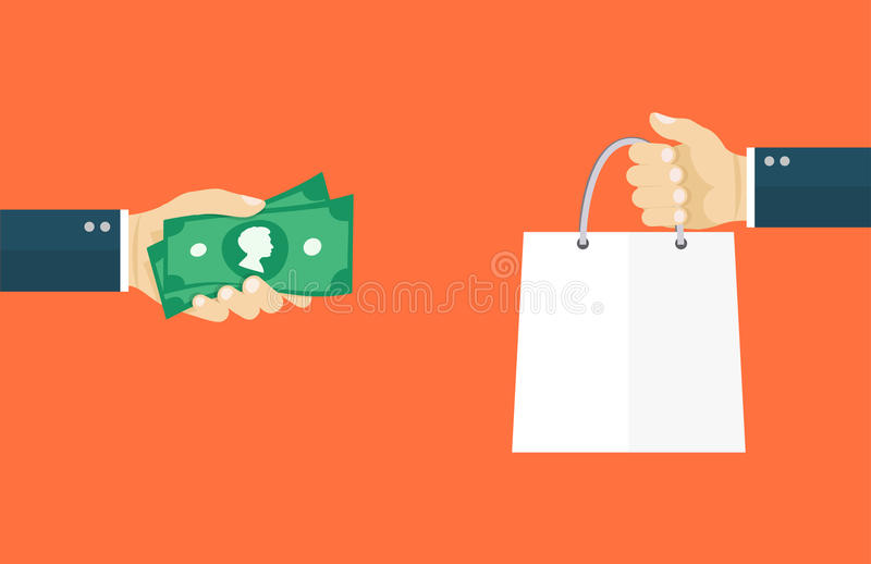 Deal flat illustration. Hand holding money and hand holding bag stock illustration