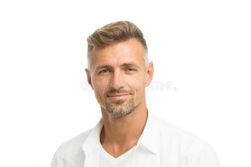 Deal with gray roots. Man attractive well groomed facial hair. Barber shop concept. Barber and hairdresser. Man mature. Good looking model. Silver hair shampoo royalty free stock photo