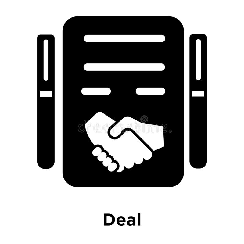 Deal icon vector isolated on white background, logo concept of D. Eal sign on transparent background, filled black symbol stock illustration